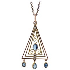 Art Deco Pendant with Aquamarine and Pearls, circa 1920s