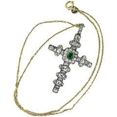 Georgian Emerald, Old Cut Diamond and Rose Cut Diamond Cross Pendant, circa 1800