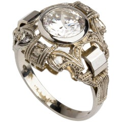 Diamond White Gold Ring, 1930s-1940s