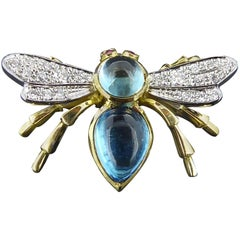 Antique Style Bee Brooch Pin, 1.36 Carat Blue Topaz, with Diamond Wings