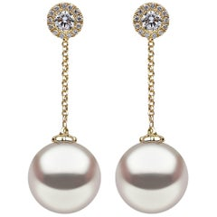 Yoko London Pearl and Diamond Drop Chain Earrings set in 18 Karat Yellow Gold