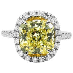 2.39 Carat Fancy Yellow Radiant Cut Diamond Pave Halo Ring