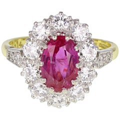 2.60 Carat Burma Unheated Ruby Diamond Gold Oval Cluster Ring