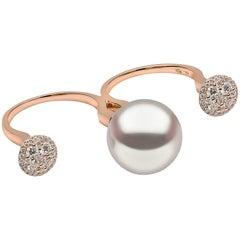 Yoko London South Sea Pearl and White Diamond Ring in Rose Gold