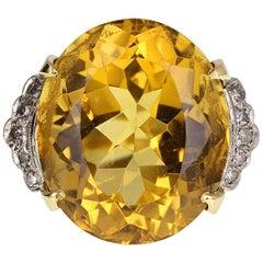 Vintage 1930s Citrine Diamond Cocktail Ring