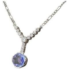 Art Deco 3.15 Carat Sapphire and Old Cut Diamond Necklace, circa 1915