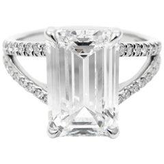 GIA Certified 3.37 Carat E VVS2 Emerald Cut Pave Split Shank Platinum Ring