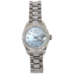 Rolex Ladies White Gold Diamond Datejust Wristwatch