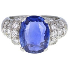 5.40 Carat Unheated Ceylon Sapphire Diamond Platinum Ring