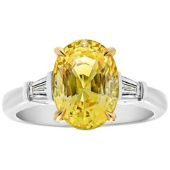 4.95 Carat Oval Yellow Sapphire and Diamond Platinum Ring