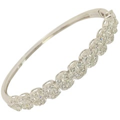18 Karat White Gold and Diamond Bangle Bling-Bling Bracelet