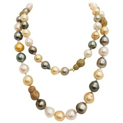 Magnificent Multicolored Baroque Pearl and Diamond Necklace