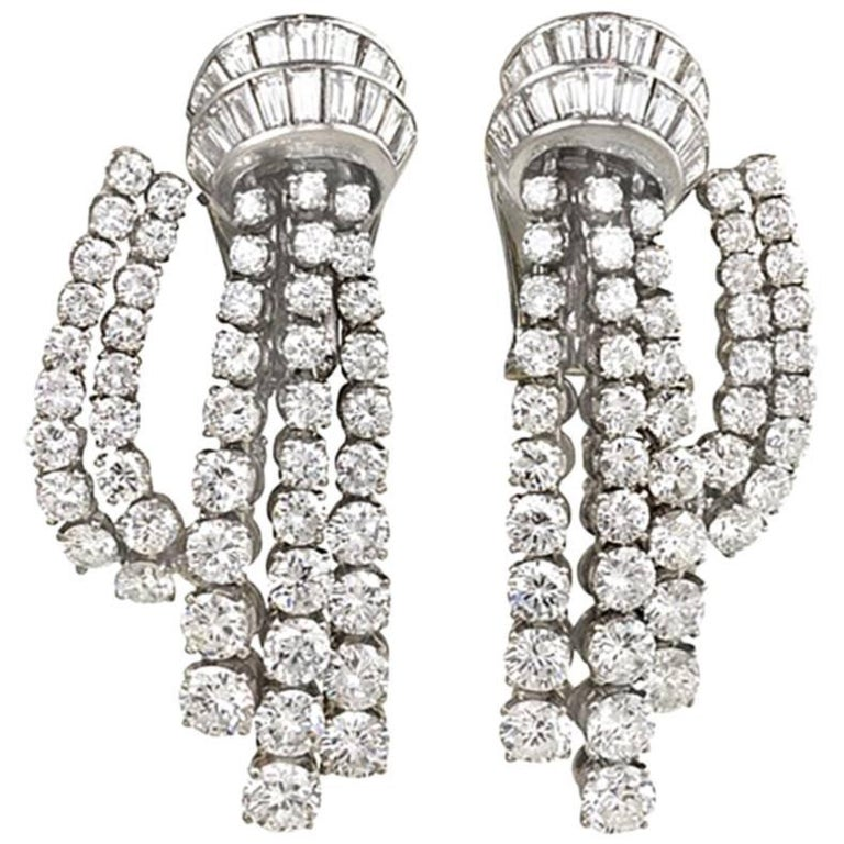 "Retro Van Cleef & Arpels ""Cascade"" Diamond Earrings"