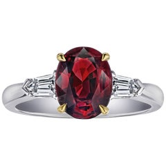 2.54 Carat Oval Red Spinel and Diamond Platinum Ring