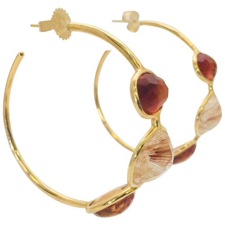 Ippolita Rock Candy Citrine and Quartz 18 Karat Yellow Gold Medium Hoop Earrings