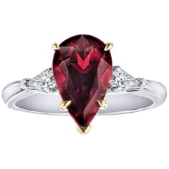 3.73 Carat Pear Shape Red Spinel and Diamond Platinum Ring