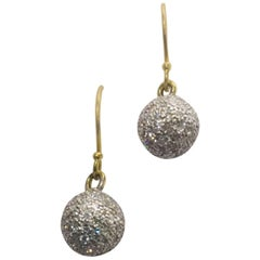 Special Party Ball Dangle Earrings in 18 Karat Yellow Gold with Diamonds