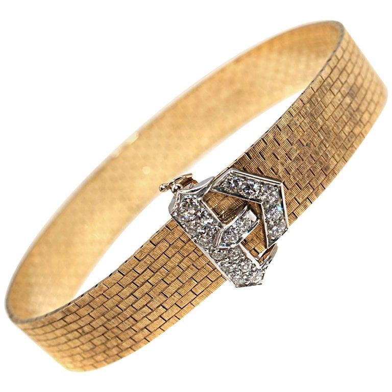 Chic Two-Tone Gold Diamond Buckle Bracelet