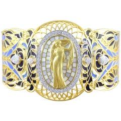 Masriera Diamond Plique a Jour Enamel Gold Bracelet