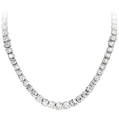Important Old Mine Cut Diamond Riviere Necklace