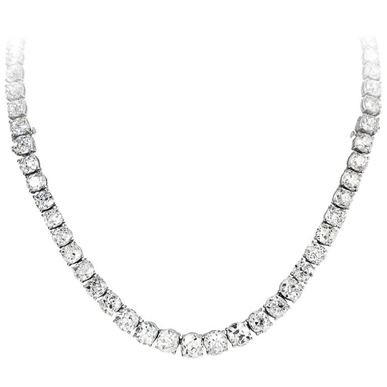 Important Old European Cut Diamond Riviere Necklace