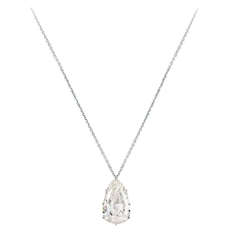 9.10 Carat  Antique Pear Shape Diamond Solitaire Pendant Necklace For Sale