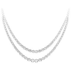 Roman Malakov, Round Brilliant Diamond Double Strand Riviere Necklace