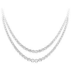 Round Brilliant Diamond Double Strand Riviere Necklace