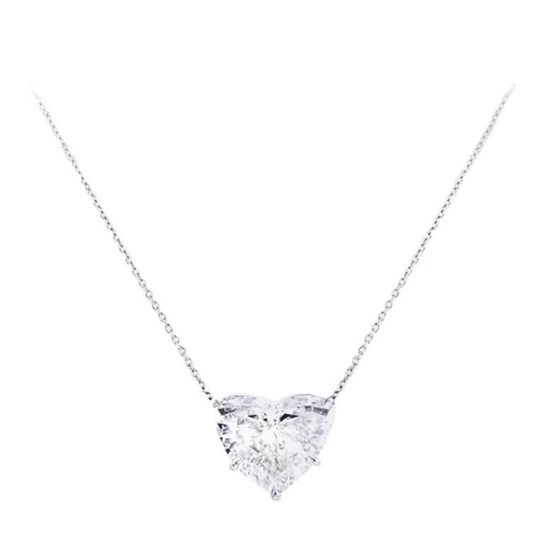 a673d16eaaa6 7.05 Carat Heart Shape Diamond Pendant Necklace For Sale at 1stdibs