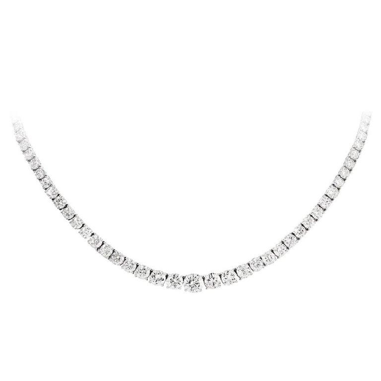 18.86 Carat Round Brilliant Diamond Riviere Necklace