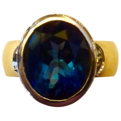 Michael Kneebone London Blue Topaz 18 Karat Gold Leah Ring