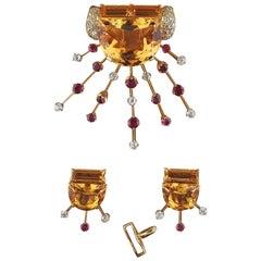 Retro Citrine Diamond Ruby Gold Earrings Brooch Suite
