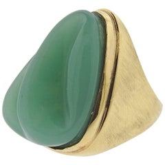 Burle Marx Forma Livre Carved Chrysoprase Gold Ring