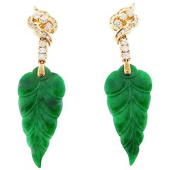 Delicate Jade Leaf Diamond Earrings in 18 Karat Yellow Gold