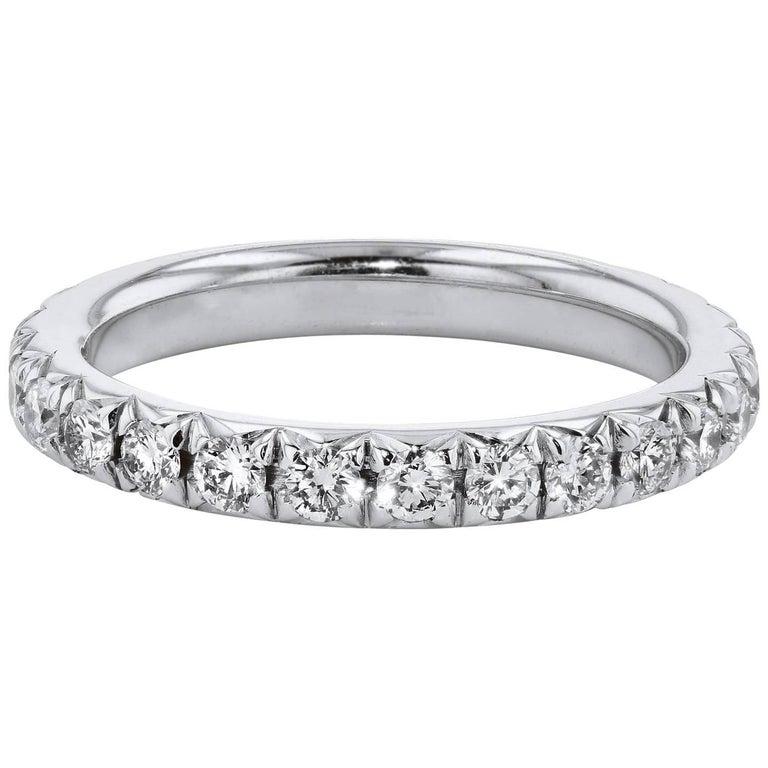 H & H 1.07 Carat Diamond 18 Karat White Gold Band Ring