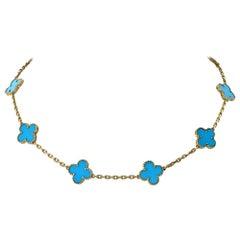 Van Cleef & Arpels Vintage 18 Karat Yellow Gold Alhambra Turquoise Necklace