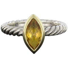 David Yurman Marquise Citrine Color Classics Cable Silver and Gold Stack Ring