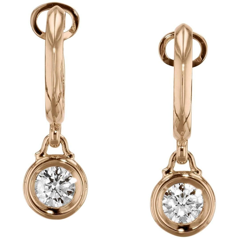 0 80 Carat Diamond Bezel Set Bauble Hoop Earrings For Sale at 1stdibs