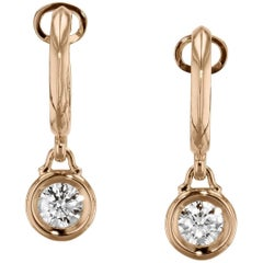 0.80 Carat Diamond Bezel-Set Bauble Hoop Earrings