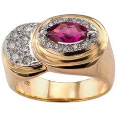 1970s Pink Tourmaline Diamond Gold Ring