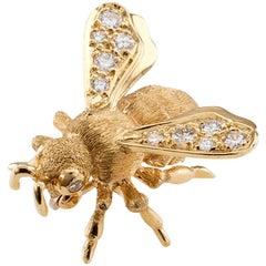 Honey Bee Diamond Gold Brooch Danfrere