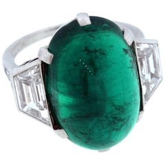 Tiffany & Co. Colombian Emerald Diamond Platinum Ring