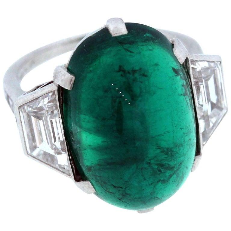 Tiffany & Co. Colombian Emerald Diamond Platinum Ring