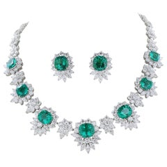 GIA Certified Colombian Emerald and Diamond Necklace and Earring Set
