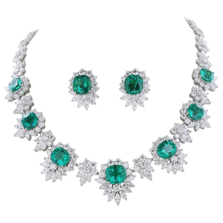 Shreve, Crump & Low GIA Certified Colombian Emerald and Diamond Suite