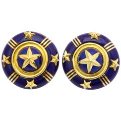Mavito Royal Blue Enamel Gold Star Ear Clips