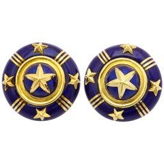 Mavito Royal Blue Enamel Gold Star Ear Clips