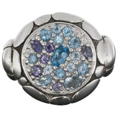 John Hardy Kali Pure Lavafire Sea Sterling Silver Ring with Blue Topaz