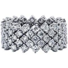 H & H 3.77 Carat Diamond Five-Row Flexi-Band Ring