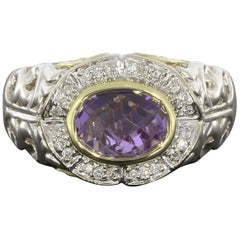 Charles Krypell Oval Amethyst and Diamond Ivy Collection Silver and Gold Ring